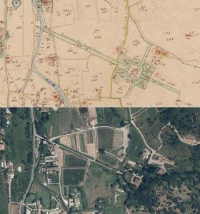 Mappa catastale 1863 - SAtellite 2013 (cortesia ARchivio di Stato di Lucca e Regione Toscana)